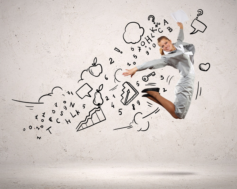 Image of businesswoman in jump against clouds background